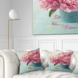 Designart 'Pink Peony Flowers in Vase' Floral Throw Pillow found on Bargain Bro from Overstock for USD $23.93
