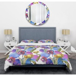 Designart 'Retro Tulips in Purple' Mid-Century Duvet Cover Set (Twin Cover + 1 sham (comforter not included)), Blue, DESIGN ART found on Bargain Bro India from Overstock for $101.14