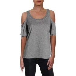 Ralph Lauren Women's French Terry Cold Shoulder Blouse, Grey, Large (Grey - L), Gray(cotton) found on Bargain Bro India from Overstock for $32.77