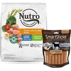 Nutro Natural Choice Large Breed Adult Chicken & Brown Rice Recipe Dry Food + SmartBones SmartSticks Peanut Butter Chews Dog Treats