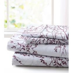 Spirit Linen Home Sheet Sets White - White & Lilac Foliage Sheet Set found on Bargain Bro Philippines from zulily.com for $14.99