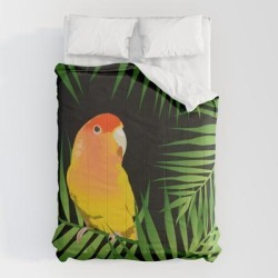 """Comforters   Lovebird Parrots In Green Palm Leaves On Black by Popparrot - Queen: 88"""" x 88"""" - Microfiber Polyester - Society6"""