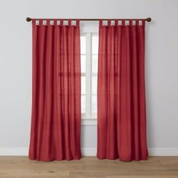 Wide Width Poly Cotton Canvas Tab-Top Panel by BrylaneHome in Burgundy (Size 48