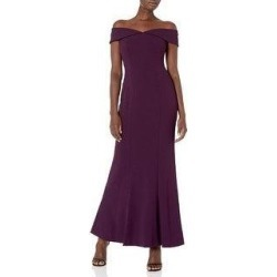 Calvin Klein Women's Off The Shoulder Gown with Folded Collar, Aubergine, 16 (Aubergine - 16)(Polyester) found on Bargain Bro from Overstock for USD $68.39