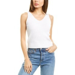 Vince Directional Rib Tank (XS), Women's, White(cotton) found on Bargain Bro India from Overstock for $52.80