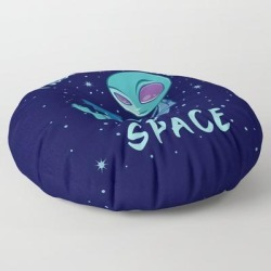 Floor Pillow   I Just Need Some Space Alien With Laptop by John Schwegel - ROUND - 30