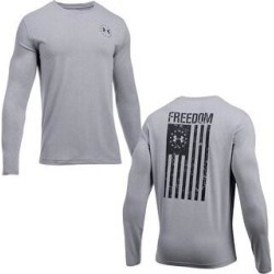 Under Armour Men's Athletic UA Freedom Flag T-Shirt Long Sleeve Tee 1333369 (Steel Light Heather - 2XL), Gray(cotton) found on Bargain Bro Philippines from Overstock for $28.62