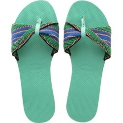 Havaianas Women's Sandals GREEN - Green Dew Stripe You Saint Tropez Sandal - Women found on MODAPINS from zulily.com for USD $24.99
