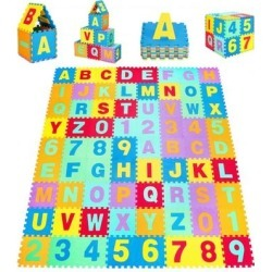 Costway Kids Foam Interlocking Puzzle Play Mat with Alphabet and Numbers 72-Piece Set