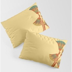 Pillow Sham | Ancient Egyptian Lotus - Colorful by Rather Swell (inkeri Kangas) - STANDARD SET OF 2 - Cotton - Society6 found on Bargain Bro from Society6 for USD $30.39