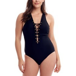 Love My Curves Women's One Piece Swimsuits - Black Coverage Lace-Up Crisscross One-Piece - Women & Plus found on Bargain Bro India from zulily.com for $29.99