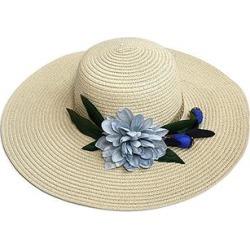 H.O.P.E Women's Sunhats Khaki - Khaki & Blue Floral Straw Sunhat found on Bargain Bro Philippines from zulily.com for $13.99