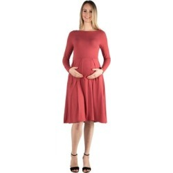 24seven Comfort Apparel Long Sleeve Fit and Flare Maternity Midi Dress found on Bargain Bro Philippines from Overstock for $39.98