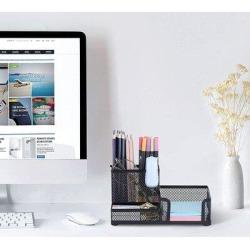 Inbox Zero Mesh Pen Holder For Desk Pencil Holders Desk Organizer in Black, Size 4.0 H x 8.1 W x 4.1 D in   Wayfair found on Bargain Bro Philippines from Wayfair for $67.99