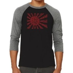 Los Angeles Pop Art Men's Raglan Baseball Word Art T-shirt - Lyrics to The Japanese National Anthem (Black / Grey - 2Xl), Multicolor found on Bargain Bro India from Overstock for $25.19