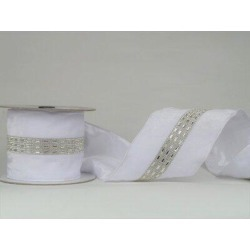 The Holiday Aisle® Ribbon w/ Sequin StripFabric in Gray/White, Size 180.0 W x 4.0 D in | Wayfair B3C54F803510442A9729A5640D11D0C9 found on Bargain Bro Philippines from Wayfair for $83.99