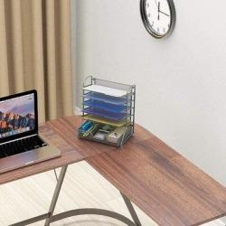 Inbox Zero 6 Trays Desk Document File Tray Organizer w/ Supplies Sliding Drawer Metal in Gray, Size 15.5 H x 13.0 W x 9.0 D in   Wayfair found on Bargain Bro Philippines from Wayfair for $104.99
