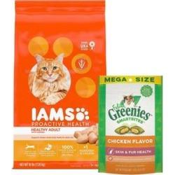 Iams ProActive Health Healthy Adult Original with Chicken Dry Food + Greenies Feline SmartBites Healthy Skin & Fur Chicken Flavor Cat Treats
