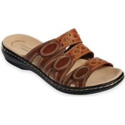 Women's Leisa Cacti Sandals by Clarks, Brown Multi 7.5 M Medium, Fabric Lining found on Bargain Bro India from Blair.com for $69.99