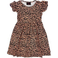 Royal Gem Girls' Casual Dresses Pink - Pink Leopard Ruffle Angel-Sleeve Dress - Toddler found on Bargain Bro Philippines from zulily.com for $9.99