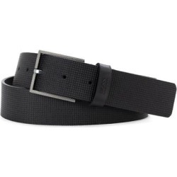 Tril Grid Textured Leather Belt - Black - HUGO Belts found on MODAPINS from lyst.com for USD $98.00