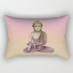 Rectangular Pillow   Buddha With Cat 6 by Kind Spirits - Small (17