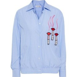 Embellished Striped Cotton-poplin Shirt Light Blue - Blue - Valentino Tops found on Bargain Bro India from lyst.com for $680.00