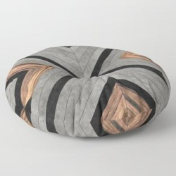 Urban Tribal Pattern No.2 - Concrete And Wood Floor Pillow by Zoltan Ratko - ROUND - 30