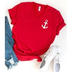 Simply Sage Market Women's Tee Shirts Red - Red & White Mini Anchor V-Neck Tee - Women found on Bargain Bro India from zulily.com for $20.99