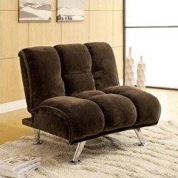 Furniture of America Gier Contemporary Champion Fabric Futon Chair (Dark Brown/Chrome) found on Bargain Bro Philippines from Overstock for $358.99