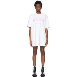 White & Pink Brushed Logo Dress - White - MSGM Dresses found on MODAPINS from lyst.com for USD $145.00
