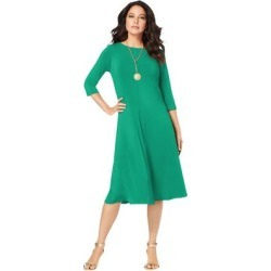 Plus Size Women's Ultrasmooth Fabric Boatneck Swing Dress by Roaman's in Tropical Emerald (Size 30/32) found on Bargain Bro Philippines from fullbeauty for $29.99