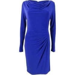 DKNY Women's Cowl Neck Pleated Sheath Dress (4, Marine) (Marine), Blue(polyester) found on Bargain Bro from Overstock for USD $45.59