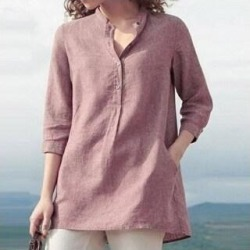 3/4 Sleeve Banded Collar Linen Shirt (Pink - S), Women's found on Bargain Bro Philippines from Overstock for $34.56