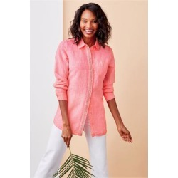Women's Petites Pool Party Shirt by Soft Surroundings, in Bright Coral size PS (6-8)