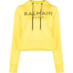 Rhinestone Logo Hoodie - Yellow - Balmain Sweats