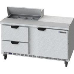 "Beverage Air SPED60-08-2 60"" 1 Door 2 Drawer Refrigerated Sandwich Prep Table"