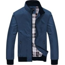 New Spring And Autumn Men's Jacket Loose Casual Stand-Up Collar Jacket Young Men's Jacket (Blue - X-Large)(polyester, solid) found on Bargain Bro Philippines from Overstock for $57.71