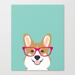 Canvas Print | Teagan Glasses Corgi Cute Puppy Welsh Corgi Gifts For Dog Lovers And Pet Owners Love Corgi Puppies by Petfriendly - LARGE - Society6 found on Bargain Bro Philippines from Society6 for $133.69