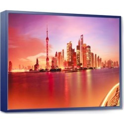 Designart 'Shanghai Skyline at Dawn Panorama' Cityscape Framed Canvas Print found on Bargain Bro Philippines from Overstock for $152.99