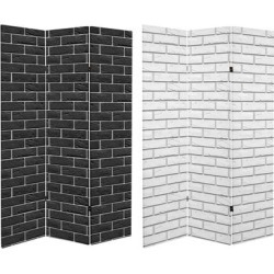 6 ft. Tall Double Sided Black & White Brick Canvas Room Divider found on Bargain Bro Philippines from Overstock for $186.49