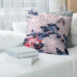 Porch & Den Katsushika Hokusai 'Peonies and Butterfly' Throw Pillow found on Bargain Bro from Overstock for USD $54.33
