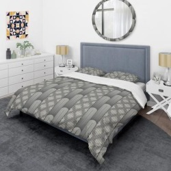 Designart 'Mimimal Black and White Design II' Mid-Century Duvet Cover Set (Twin Cover + 1 sham (comforter not included)), Gray, DESIGN ART found on Bargain Bro from Overstock for USD $91.19