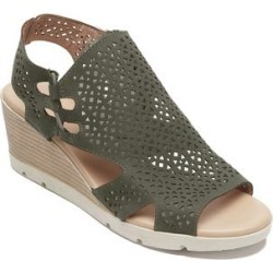 Rockport Women's Sandals GREEN - Green Geometric Perforated Hadley Bungee Leather Wedge Sandal - Women found on Bargain Bro India from zulily.com for $26.99