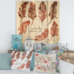Designart 'Boho Feather Icons' Bohemian & Eclectic Print on Natural Pine Wood found on Bargain Bro Philippines from Overstock for $109.99
