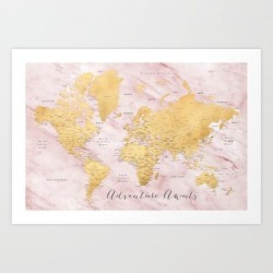 """Adventure Awaits, Gold And Pink Marble Detailed World Map, """"sherry"""" Art Print by Blursbyaishop - X-Small"""