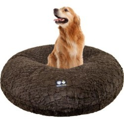 Bessie and Barnie Signature Serenity Brown Luxury Extra Plush Faux Fur Bagel Dog Bed, 42