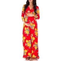 Mother Bee Maternity Women's Maxi Dresses RedCanary - Red Canary Ruched Maternity Surplice Dress found on Bargain Bro Philippines from zulily.com for $16.99