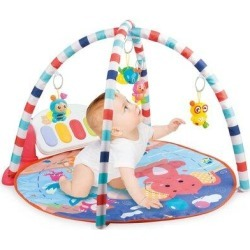 MELDVDIB Baby Game Pad Music Pedal Piano Music Fitness Rack Crawling Mat w/ Hanging Toy in, Blue/Red/Yellow | Wayfair I01KHH200429542_YMN