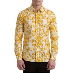 Men's Long Sleeve Shirt Dress Shirt Logo Baroque - Yellow - Versace Jeans Shirts found on Bargain Bro from lyst.com for USD $152.76